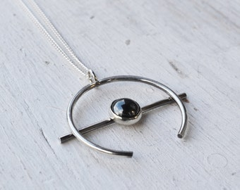 Hematite Orb Necklace, Sterling Silver Necklace, Crescent Moon Pendant Necklace, Long Silver Necklace, Stone Necklace, Circle Necklace