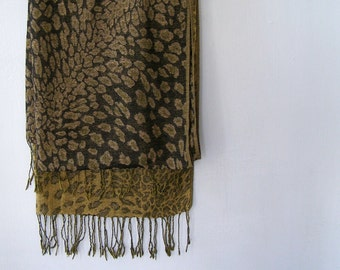 Boho Woven Large Pashmina Fringe Scarf, Vintage Leopard Golden Black Soft Long Blanket Scarf Neck Warmer, Festival Fashion Statement Shawl