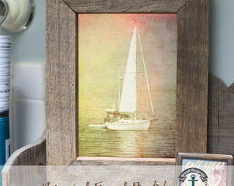 Sailboat at Sea - Framed Print in Reclaimed Barnwood Beach House Style - Handmade Ready to Hang | Size & Price via Dropdown