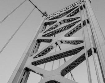 Ben Franklin Bridge Black and White Philadelphia No Filter Fine Art Photography Product Options and Pricing via Dropdown Menu