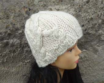 Hand knit hat Knit cable hat Fall Winter Accessories Autumn Fashion Women Hat Cloche Hat in creamy or ANY COLOR Women knit Accessories
