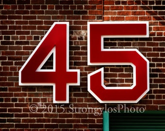 Boston Red Sox pitcher Pedro Martinez, number 45, retired, baseball, Fenway Park, sports photography, StrongylosPhoto, red brick