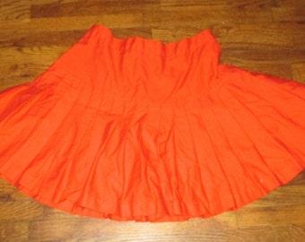 Vintage Womens Red Majorette Dance Team Cheerleader Uniform Costume Skirt S