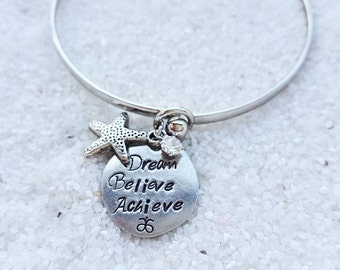 """DM Custom Stamped """"Dream Believe Achieve"""" Stackable Charm Bangle With Starfish and Swarovski Accents"""