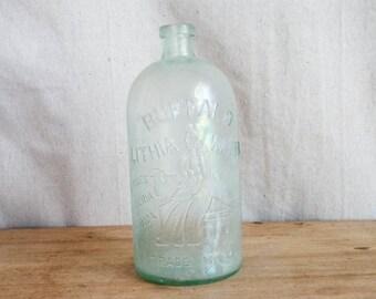 Antique 1800s Buffalo Glass Water Lithia Bottle Primitive Country Housewarming Gift Ideas Aqua Blue