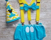 Mickey Mouse Birthday cake smash baby blue outfit clubhouse first suspenders I am One Hat diaper cover bow tie GINABELLAS1 12 18 24 toddler