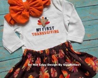 Thanksgiving outfit baby girl Gobble My First Turkey Day thankful for me tutu dress skirt 3 6 9 12 headband Messy bow SALE Arrive by Holiday