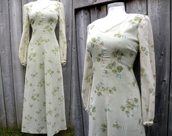 70s Maxi Dress Hippie Style with Green Floral and Flowy Arms - S