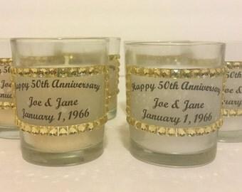 Happy 50th Wedding Anniversary Party Decor, Set of 12 Votive Candles, 50th Anniversary Party Favors, 50th Anniversary Table Decor, Candles