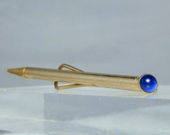 Vintage Tie Clip Mechanical Pencil Blue Glass Jeweled End Gold Tone 3.50 inch DanPickedMinerals