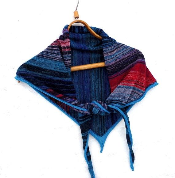 Knitting Pattern Cotton Scarf : Knit Triangle scarf knit cotton scarf by peonijahandmadeshop