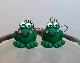 Hand Sculpted Frog Earrings