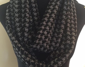 New Thick Black and Gray Infinity Scarf