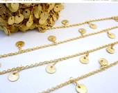 35% off Wholesale Gold Plated Chain with Dangling Gold 8mm Coin Charms -- 1 and 10 FOOT (CHN-376)
