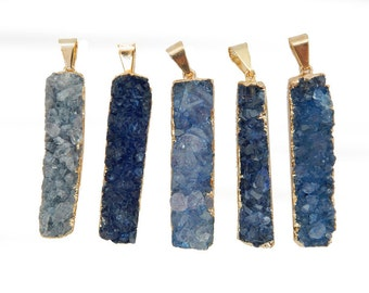 Blue Druzy Rectangle Bar Pendant with 24k Gold Electroplated Edges (S94b13-02)