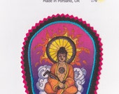 Bicycling Buddha Iron On Patch