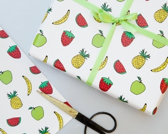 Fruity tropical gift wrap - fun and quirky design! Tropical print wrapping paper - pineapple, watermelon, strawberry, apple, banana