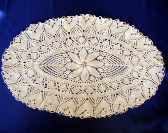 Vintage knitted knit Italian dresser scarf oval white with floral design and chain stitch scalloped edging