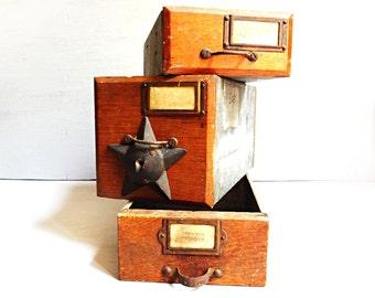 Vintage Drawers Set of 3, Metal Drawers, Wood Drawers, Organizer Drawers, Wooden Workshop Drawers