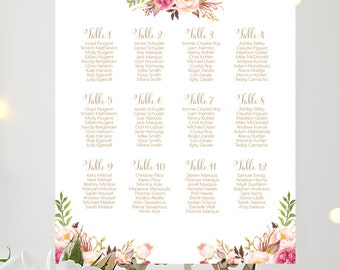 Wedding Seating Chart | By Table | Various Sizes | Bella | Antique Gold | Romantic Blooms | I Create and You Print