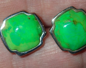Lime Green Turquoise Sterling Post  Earrings