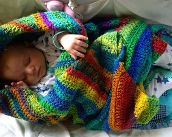 Baby Blanket Kit: Easy Crochet Self Striping Bohemian Gypsy Throw