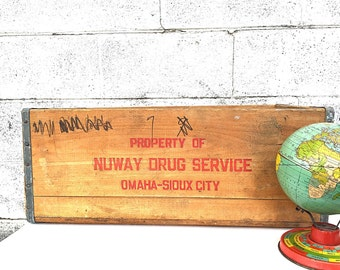 Large WOOD CRATE | Wooden Nuway Drug Service Crate, Omaha- Sioux City | Vintage (c.1940's) Wood Delivery Crate | Rustic Industrial Storage