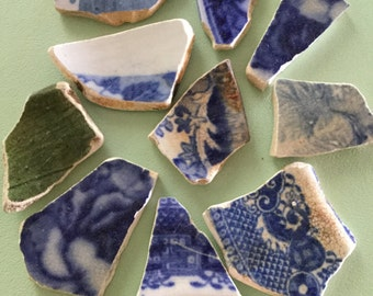 Rare 'Beach Pottery' shards - 10 large pieces