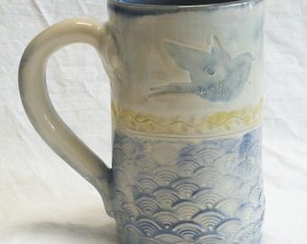 ceramic blue bird coffee mug 16oz  stoneware 16A074