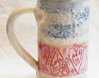 red hearts 20oz ceramic coffee mug 20C030