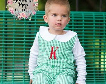 Green Boy's Longall - Fall outfit - Monogrammed Romper -Monogrammed Jon Jon - Boy's Holiday outfit - Christmas - Birthday - Holiday monogram