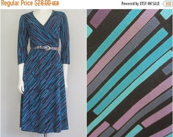 90s Stripe Dress / Turquoise Purple / Geometric / Office
