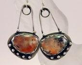 Sterling Silver Sunstone Basket Drop Earrings