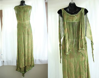 PRICE REDUCED-Early 1930's Green and Gold Gown