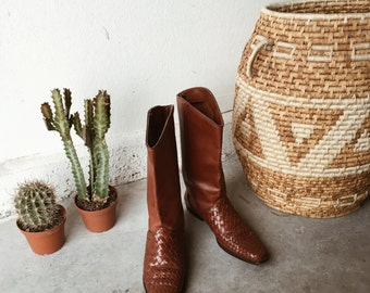 Braided Leather Boots