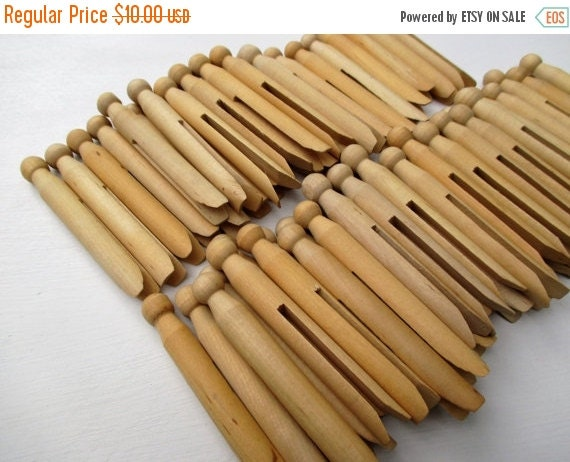 CHRISTMAS In July SALE Supplies DESTASH~65 Round Wooden Unfinished Clothespins with Tapered ends ...Doll Pins, Puppets, Crafts