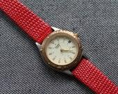 Vintage Pulsar Womens watch quartz red strap hirsch