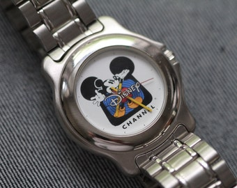Vintage Mickey Mouse Watch Disney Channel Metal Bracelet NOS unworn