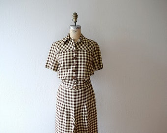 1940s 1950s pant suit . vintage 40s 50s plaid suit