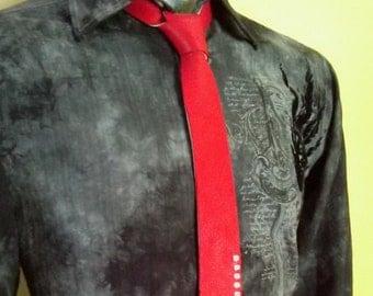 Red Tie, Mens Tie, Skinny Tie, Leather Tie, Mens Necktie, Red Neckties, Neckties, Skinny Ties, Handmade Ties, Leather Necktie, Red Ties