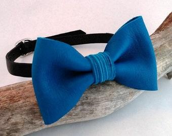 Blue Bow Tie | Mens Bow Ties | Blue Tie | Wedding Bow Tie | Unique Bow Tie | Leather Bow Tie | Groomsmen Bow Tie | Groomsmen Ties |Cool Ties