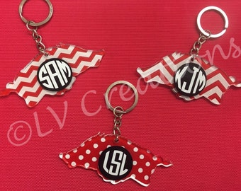 Personalized Arkansas Razorback Keychain