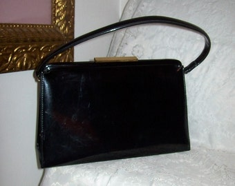 Vintage 1950s Ladies Black Patent Metal Frame Purse Theodor of California Only 11 USD