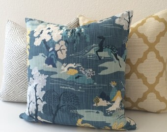 Teal and yellow multicolor asian chinoiserie  decorative pillow cover, peacock modern toile pillow cover