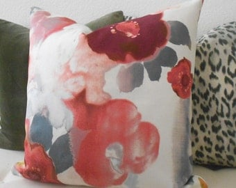 Double Sided Maroon, Pink, coral, raspberry, gray watercolor floral decorative pillow cover