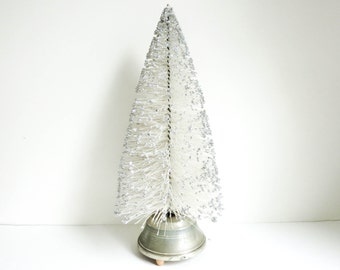 1950's Bottle Brush Christmas Tree with Mica - Rotating Christmas Music Box that Plays Silent Night - White Christmas Decoration