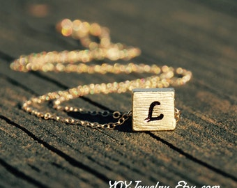 Gold Square Necklace With Initials, Two sided Engravings, 14K Gold Filled Chain, Square Pendant, Letter Necklace, Anniversary, Birthday gift