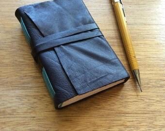 Little Purple n Blue-Mini Pocket Journal-Leather-Handmade-Gift Idea