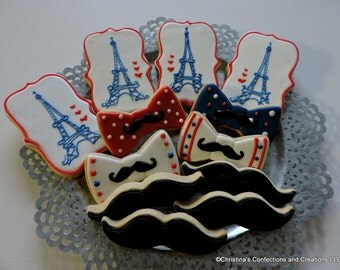 Little Man Paris Eiffel Tower themed baby shower or birthday cookies (#2474)