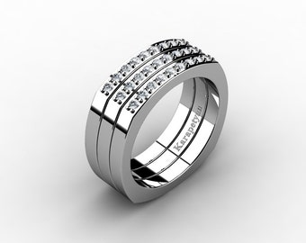 Mens Modern Conservative 14K White Gold Diamond Cluster Ring G10041-14KWGD